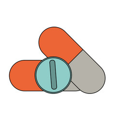 Color image cartoon capsules and circular pill vector