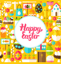 flat happy easter greeting vector image vector image