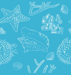 marine background white silhouettes on blue vector image vector image