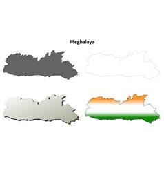 Meghalaya blank detailed outline map set vector image vector image