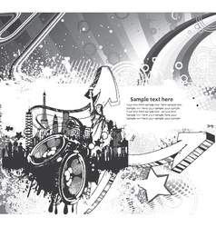music background with city vector image vector image