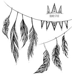 set of hand drawn web design elements in Boho vector image