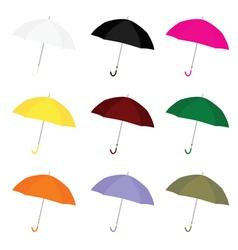umbrella color set vector image vector image