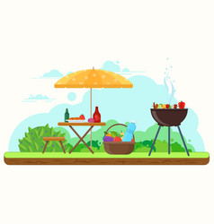 bbq picnic in the garden vector image vector image