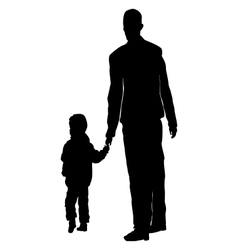 child walking with his fathers hand vector image