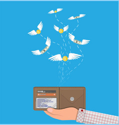 Coin and dollar bill flying over hand with wallet vector