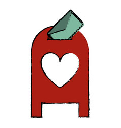 drawing love mail post box message valentine vector image