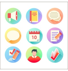 Flat trendy education colorful icons set vector image vector image