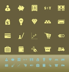 Money color icons on green background vector image vector image