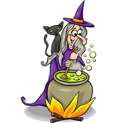 witch casting a spell cartoon vector image vector image