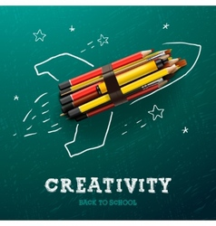Creativity learning Rocket ship launch with vector image vector image