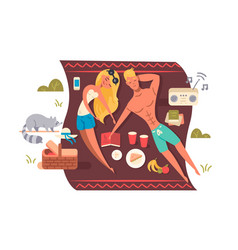 Picnic in nature park vector