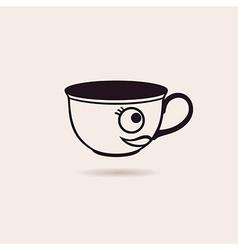 smiling cartoon cup tea or coffee funny icon vector image