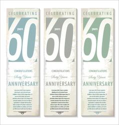 60 years Anniversary retro banner set vector image vector image