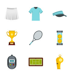 big tennis icons set flat style vector image vector image