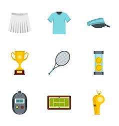 big tennis icons set flat style vector image