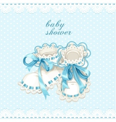Blue booties for newborn baby shower card vector image