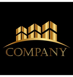 gold buildings icon white space for your text vector image