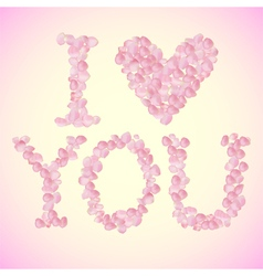 I Love You sign made of rose petals vector image vector image