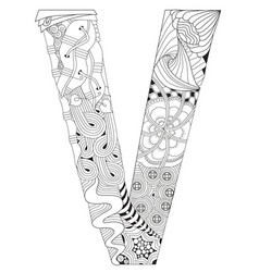 letter v for coloring decorative zentangle vector image