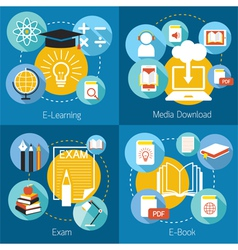 School Online E-Learning E-Book Exam Concept vector image vector image