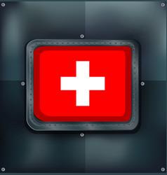 switzerland flag on metalic background vector image