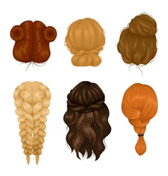 Women hairstyle back view icons collection vector