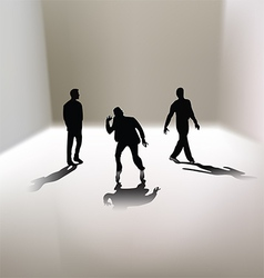 3 men silhouettes vector image
