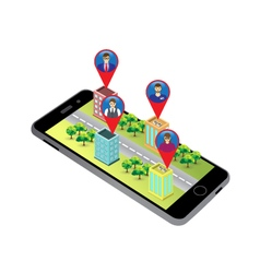 3D map on the screen of the smartphone vector image