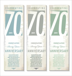 70 years Anniversary retro banner set vector