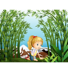 A sad girl at the bamboo forest vector image
