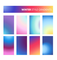 Abstract colorful gradients in winter cold colors vector