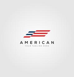 american flag minimalist logo design vector image
