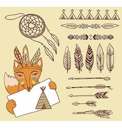 Arrows indian elements aztec borders vector