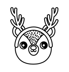 bear with horns happy merry christmas thick line vector image