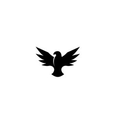 Bird black eagle open wings flying for logo design vector