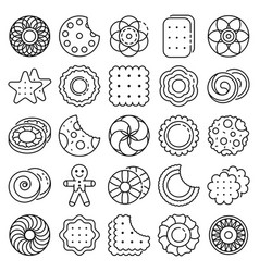Biscuit icon set outline style vector