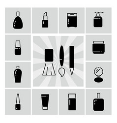 black line and silhouettes cosmetics icons vector image