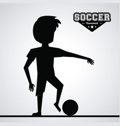 black silhouette faceless athlete football player vector image