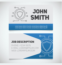 business card print template with protection vector image