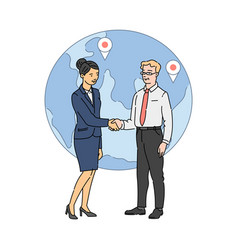 business man and woman shaking hands on globe vector image