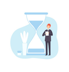 Businessman with hourglass male office worker vector