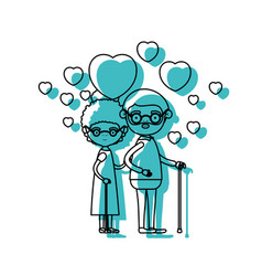 caricature full body elderly couple embraced with vector image