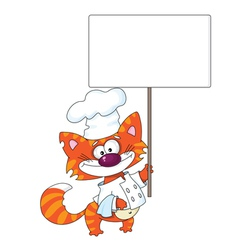 cat with a blank sign vector image