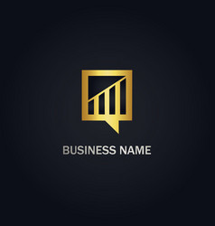 chart business finance gold logo vector image