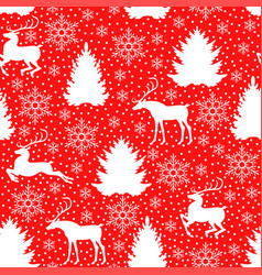 christmas pattern seamless with deer fir pine vector image