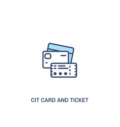 Cit card and ticket concept 2 colored icon simple vector