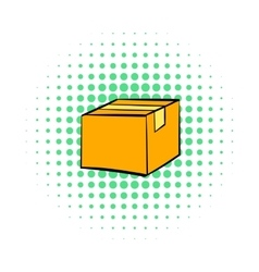 Closed cardboard box taped up icon comics style vector image
