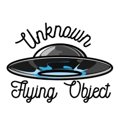 Color vintage ufo emblem vector