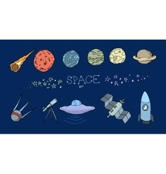 Colored doodle space set vector